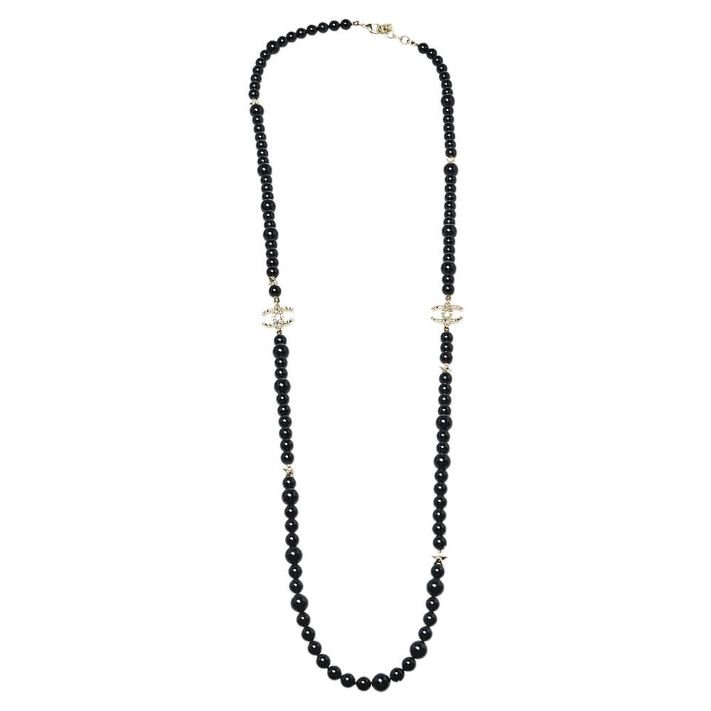 Chanel Black Beaded CC Star Charm Necklace