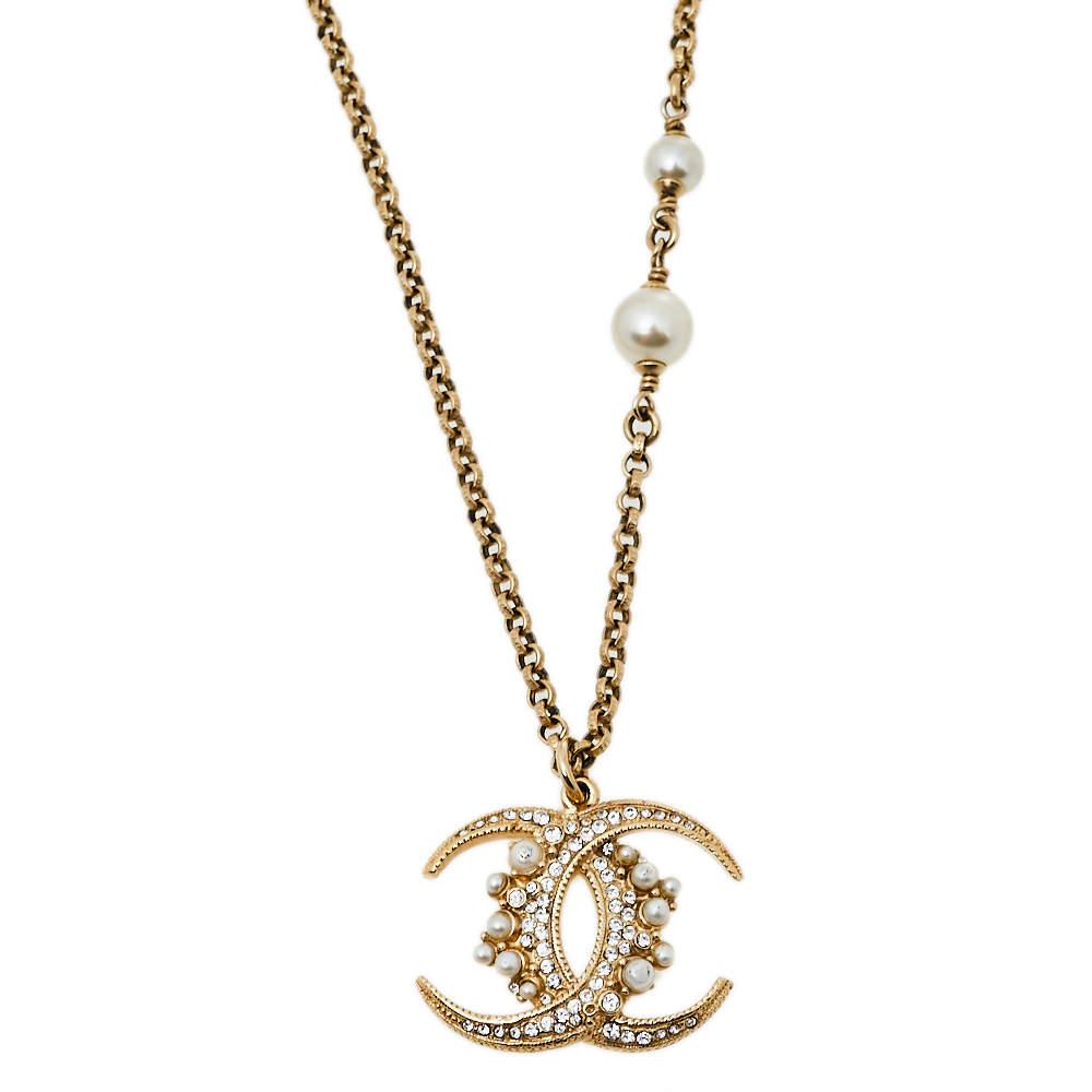 Chanel Pale Gold Tone Faux Pearl Crescent Moon Logo Pendant Necklace