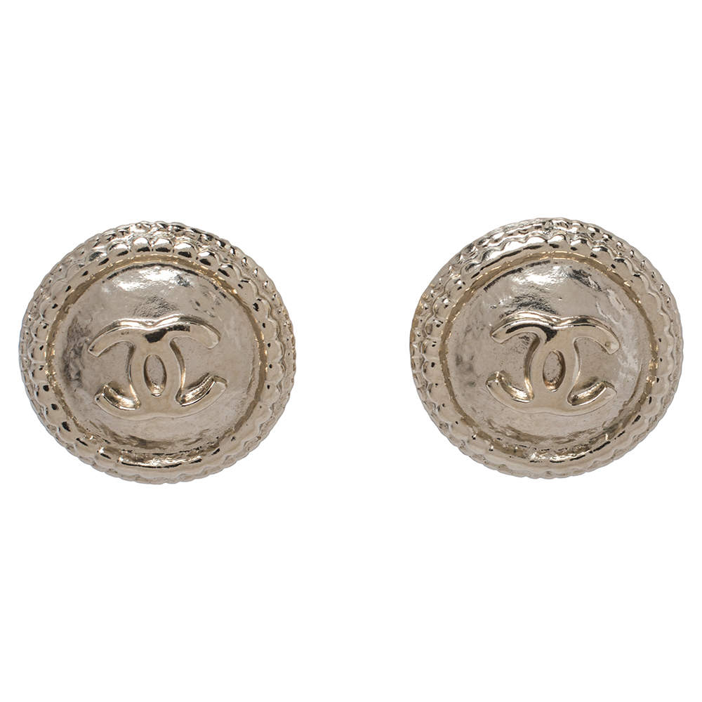 Chanel Pale Gold Tone CC Round Clip On Earrings