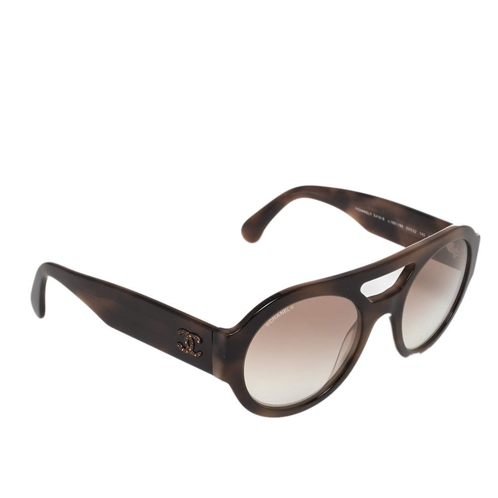 Chanel Brown Acetate Gradient 5419-B Round Sunglasses