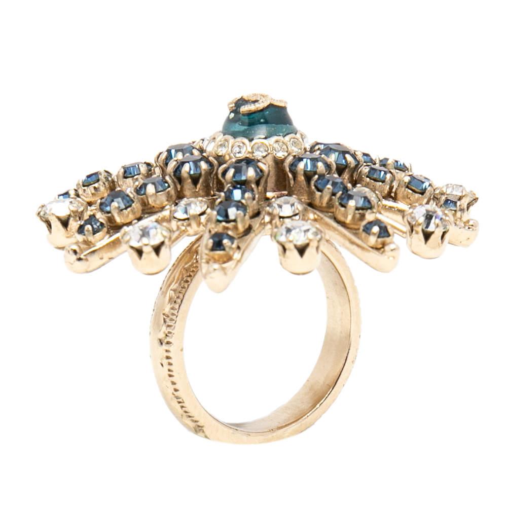 Chanel Pale Gold Tone Crystal Embellished CC Starburst Ring Size EU 53