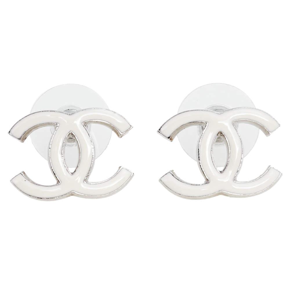 Chanel White Enamel Silver Tone CC Stud Earrings