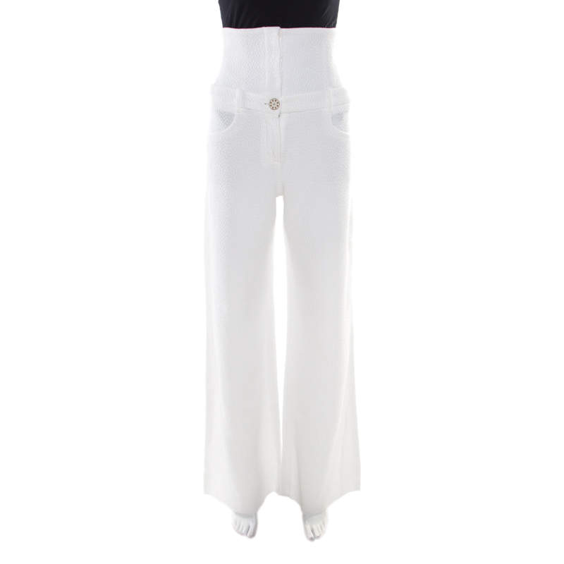 Chanel White Textured Cotton High Waisted Wide Leg Trousers S