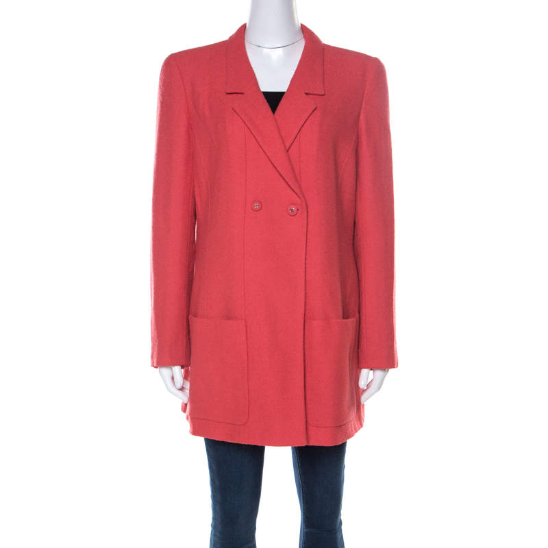 Chanel Coral Red Wool Bouclé Vintage Jacket XL