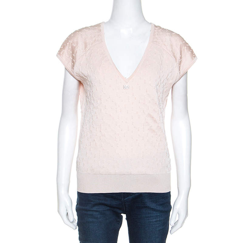 Chanel Pale Peach Textured Knit V Neck Top M