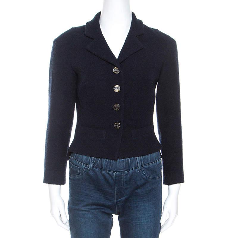 Chanel Navy Blue Boucle Knit Wool Jacket M