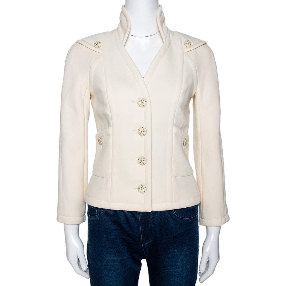 Chanel Cream Wool Button Front Jacket S