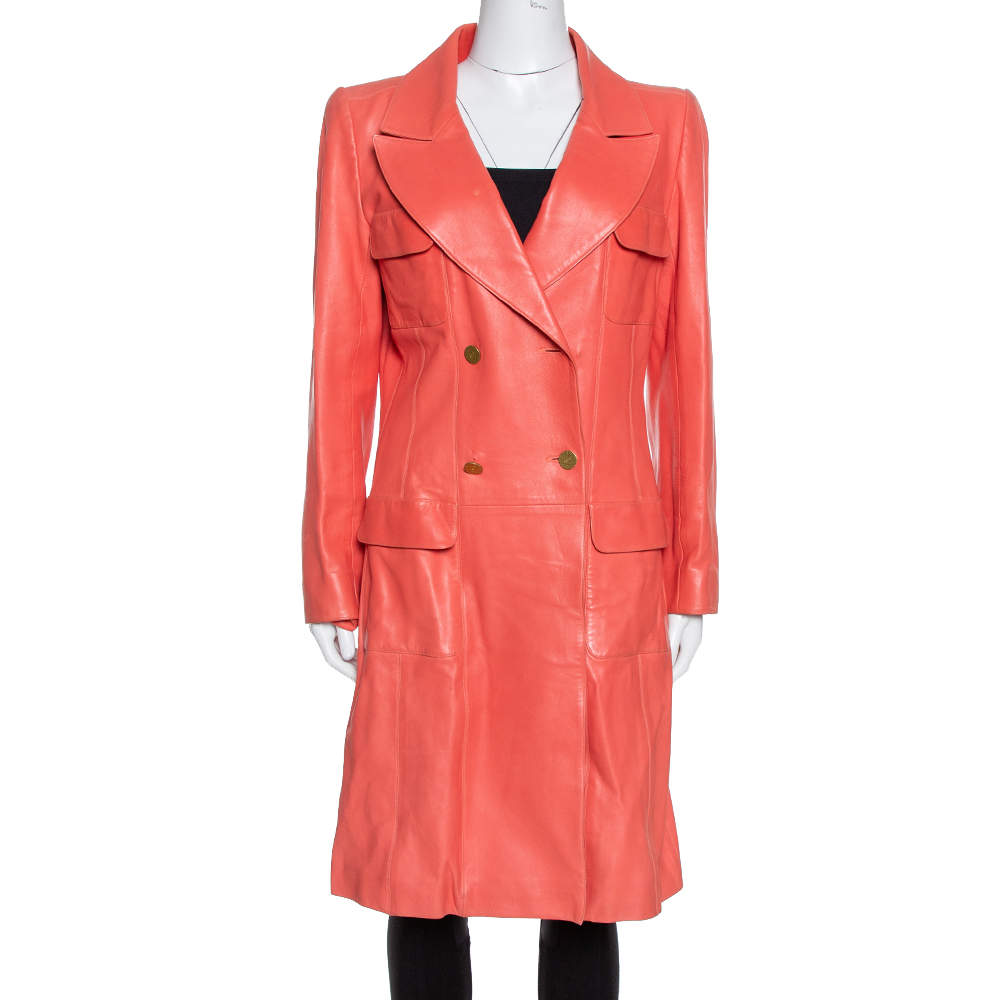 Chanel Coral Pink Leather Double Breasted Trench Coat L