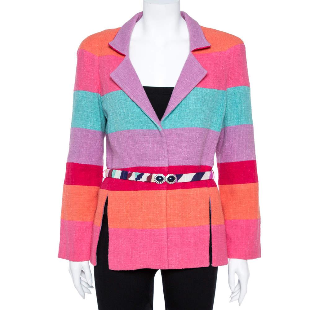 Chanel Multicolor Stripe Cotton Tweed Belted Blazer L