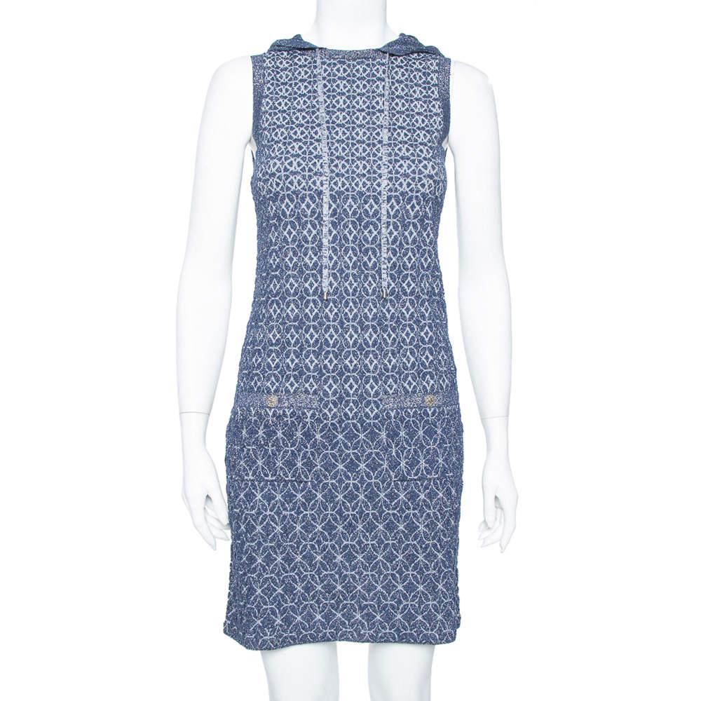 Chanel Navy Blue Lurex Knit Hoodie Detail Sleeveless Shift Dress S