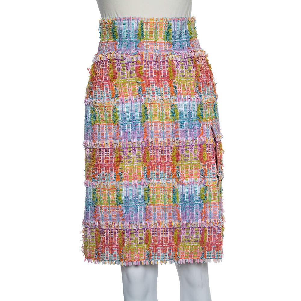 تنورة شانيل تويد طبقتين متعددة الألوان بشق أمامي مقاس صغير - سمول