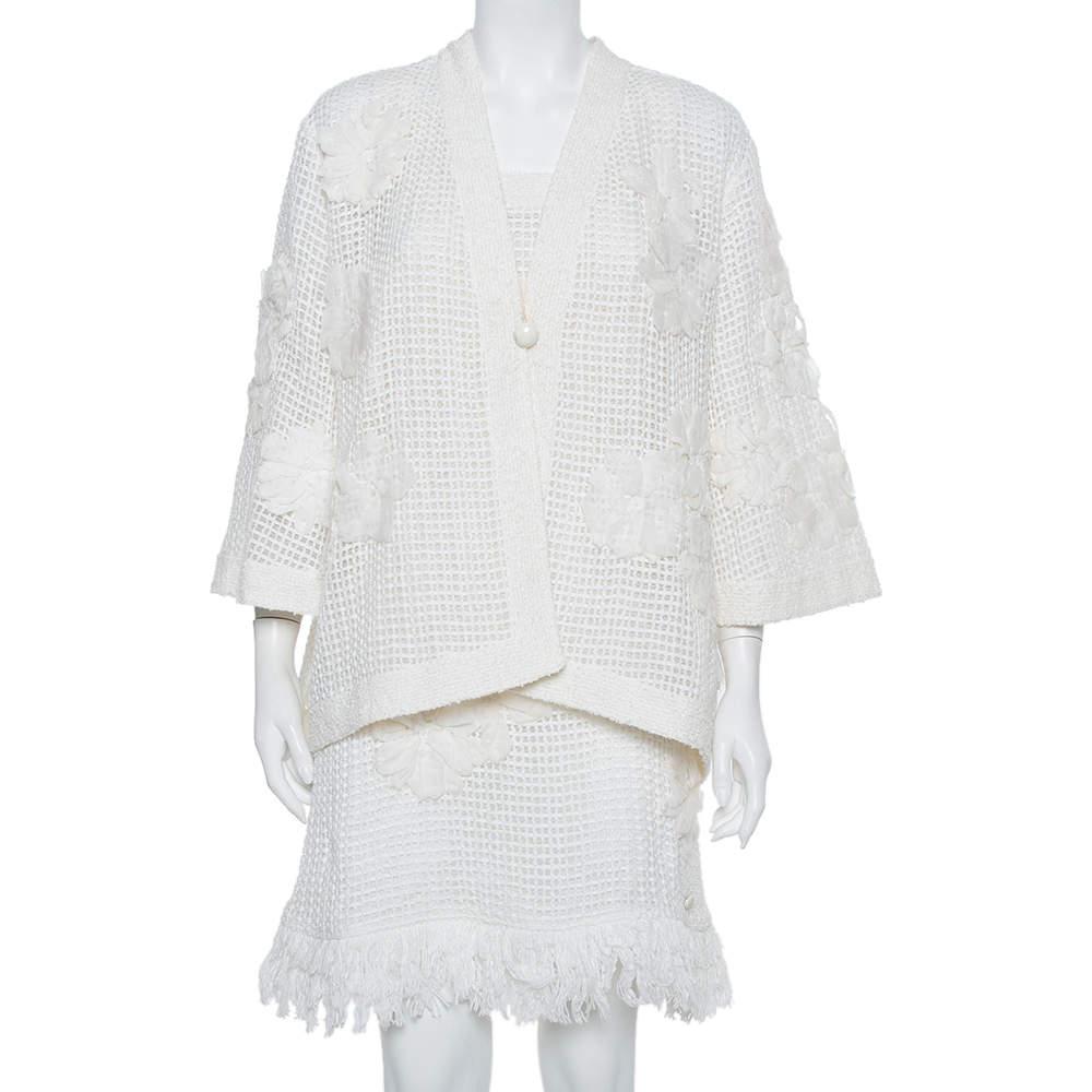 جاكيت أكمام واسعة و أزرار أمامية و فستان قصير بلا أكمام شانيل مزين حليات شبك أبيض مقاس وسط (ميديوم)