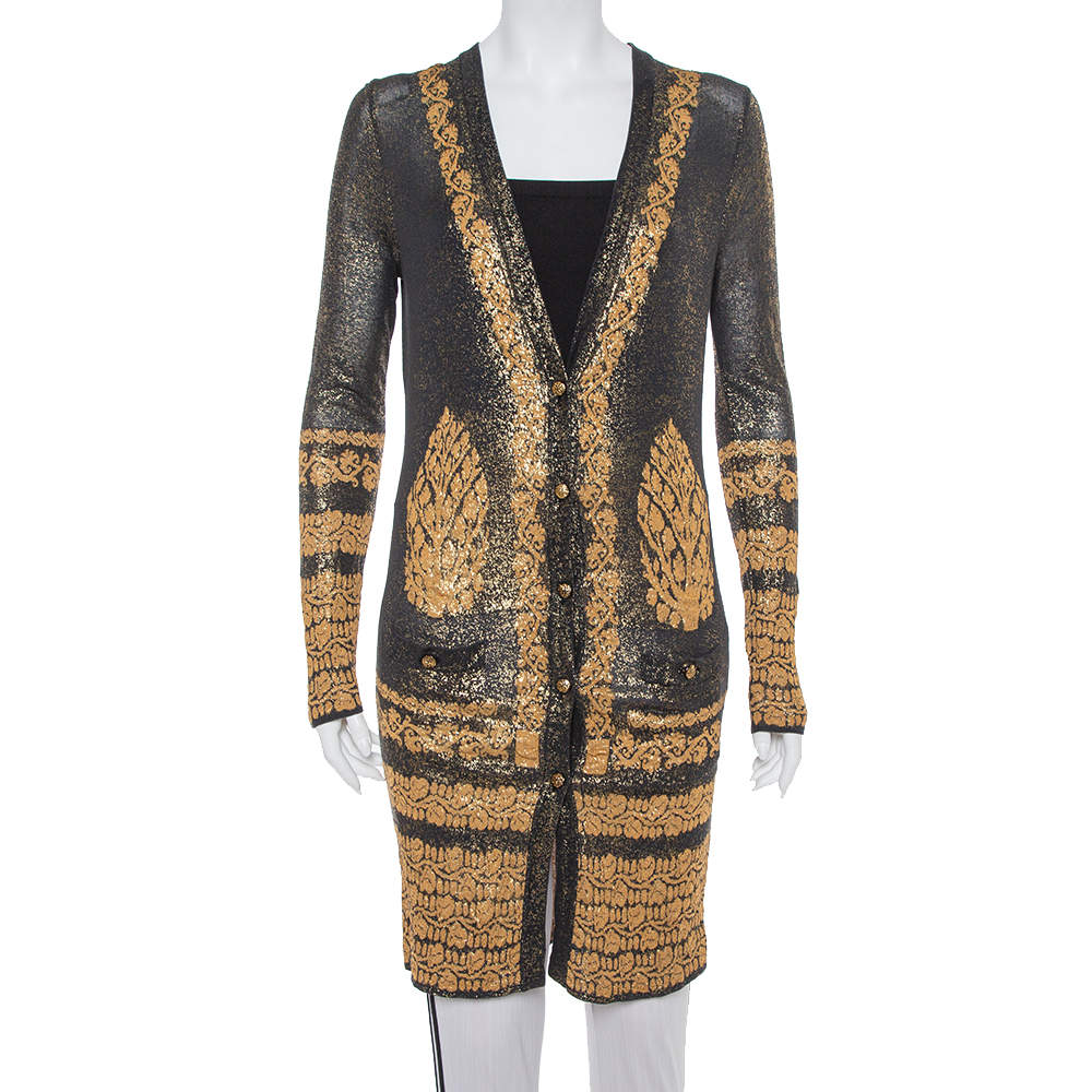 Chanel Black & Gold Printed Jacquard Knit Button Front Long Cardigan S