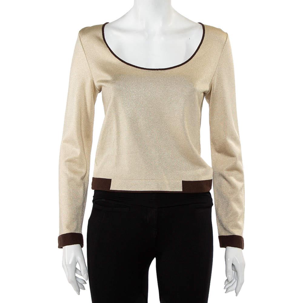 Chanel Beige Lurex Knit Contrast Detail Round Neck Top S