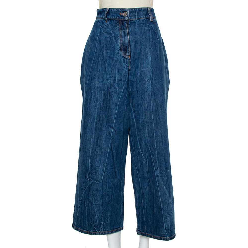 Chanel Navy Blue Denim Washed Out Effect Culottes M