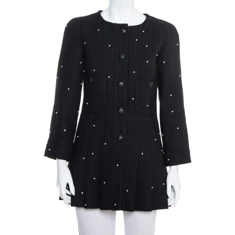 Chanel Black Wool Bead Embellished Pleated Detail Button Front Long Jacket M