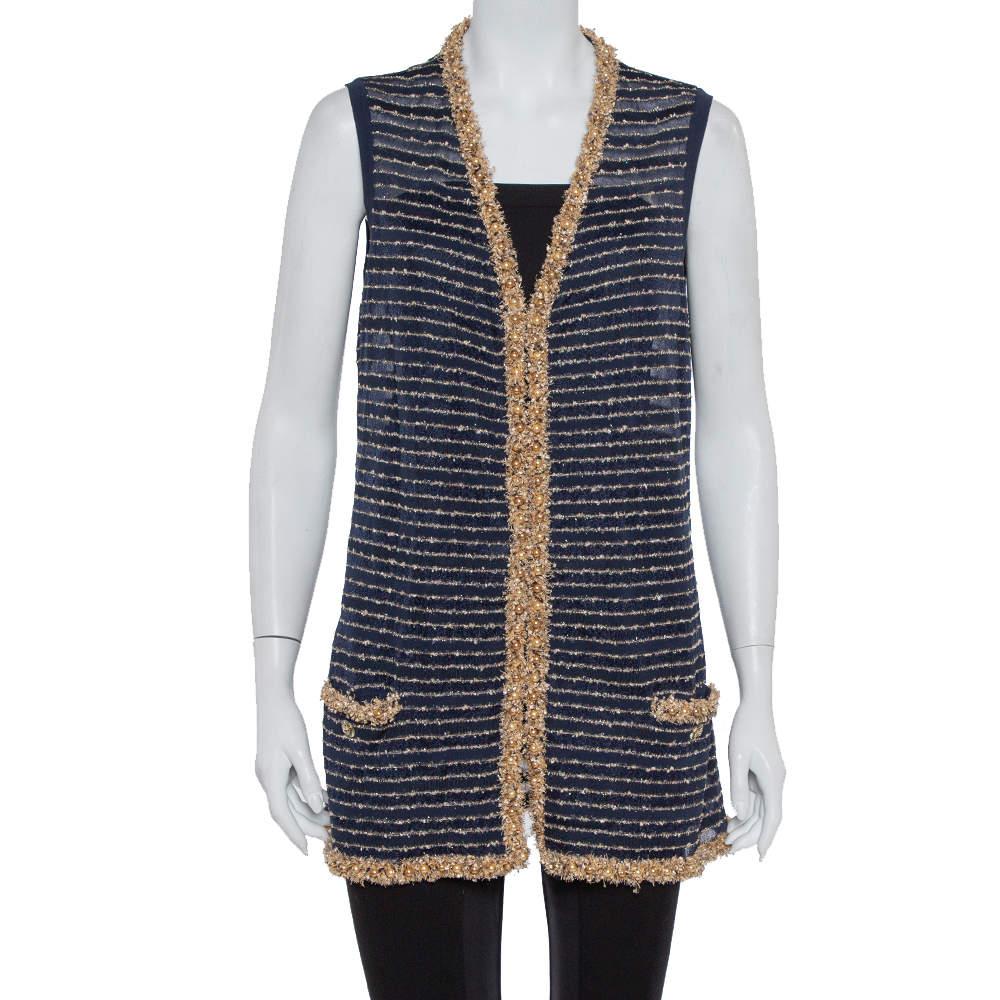 Chanel Navy Blue Knit Bead Embellished Hook Front Vest XL