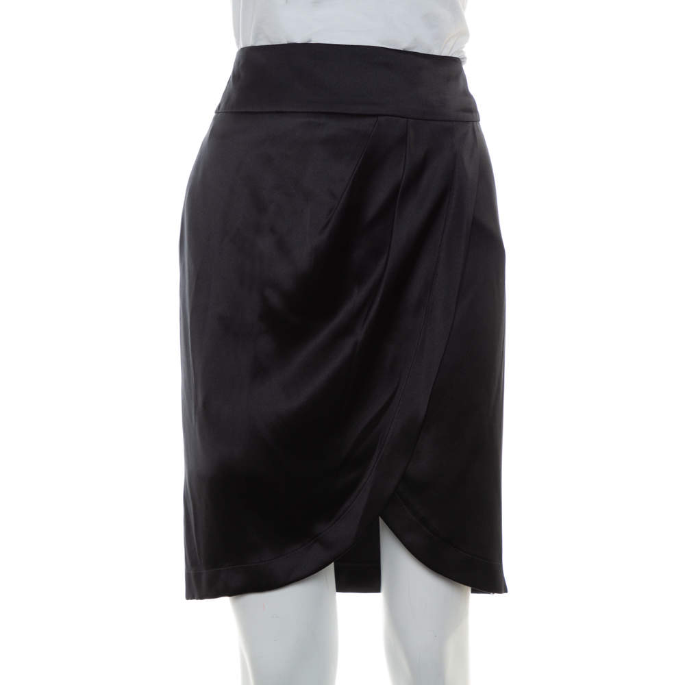 Chanel Black Silk Satin Faux Wrap Mini Skirt S
