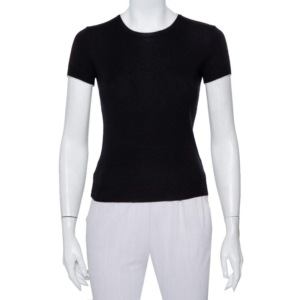 Chanel Black Wool Knit Short Sleeve Crewneck T-Shirt S