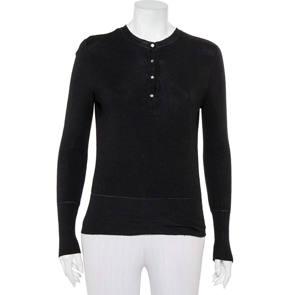Chanel Black Cashmere & Silk Button Front Sweater M