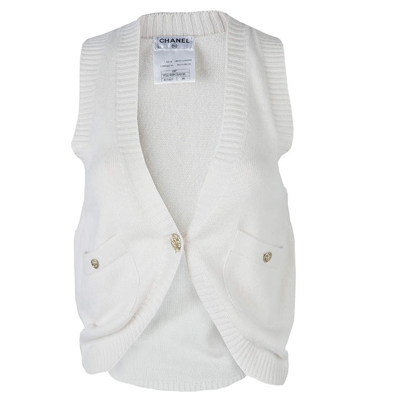 Chanel Cream Cashmere Vest S