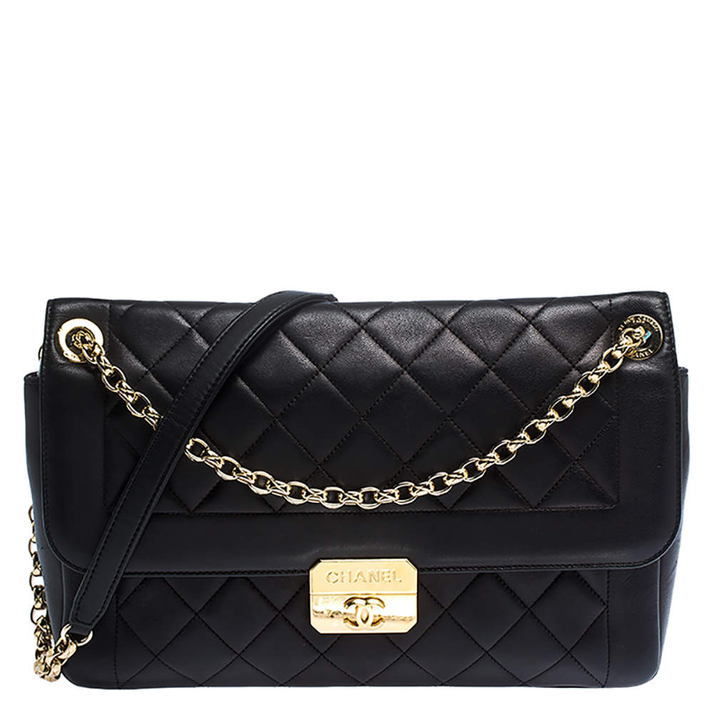 Chanel Black Quilted Leather Retro Clasp Flap Bag