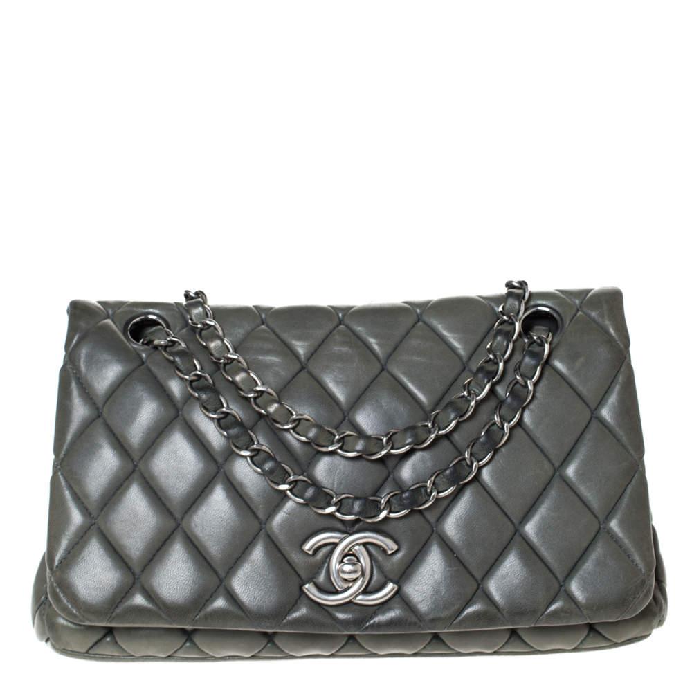Chanel Crocodile Green Leather CC Flap Bag