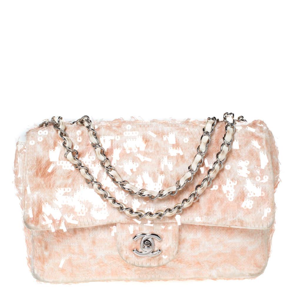 Chanel Peach/White Fabric and Sequins Medium Classic Single Flap Bag