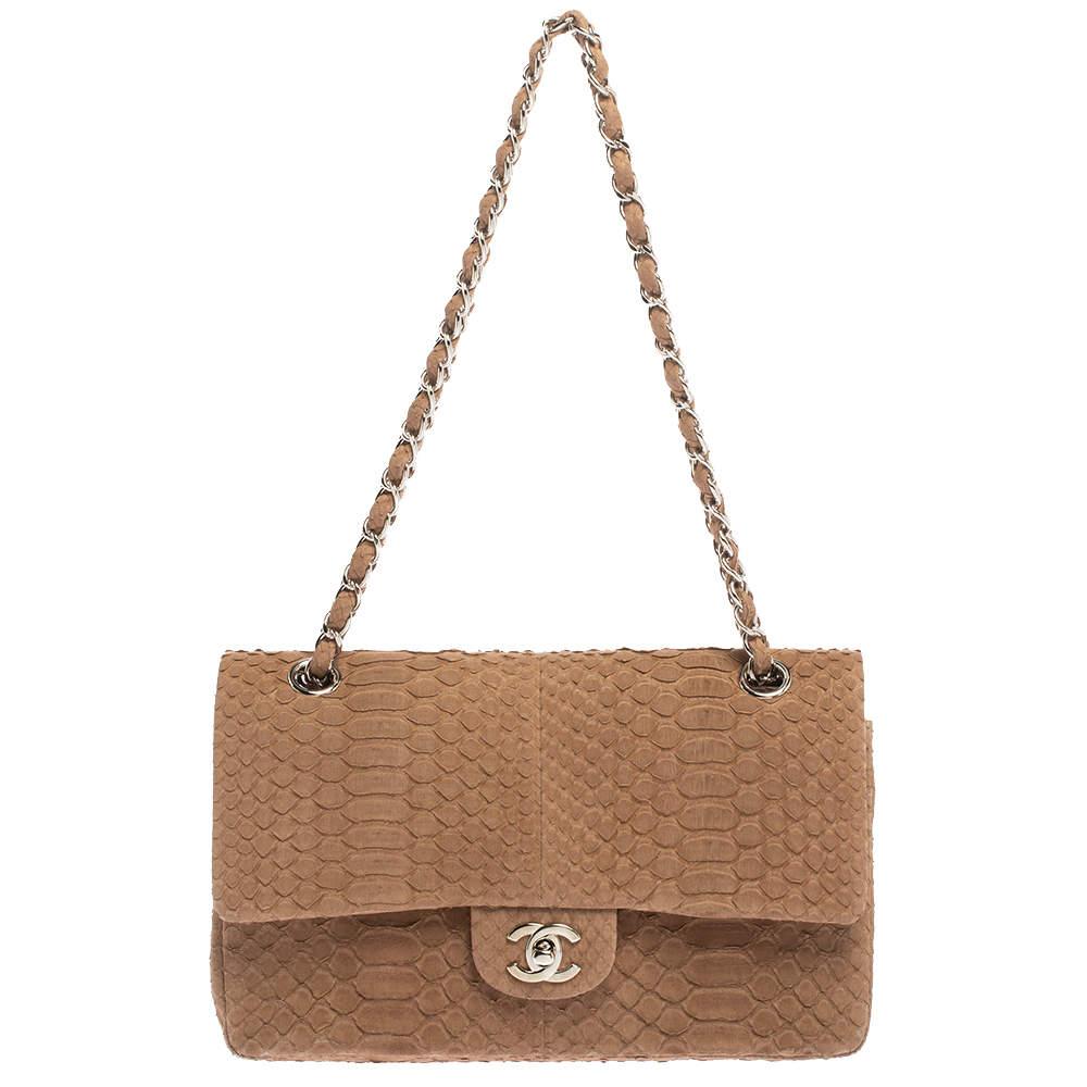 Chanel Brown Python Medium Classic Double Flap Bag