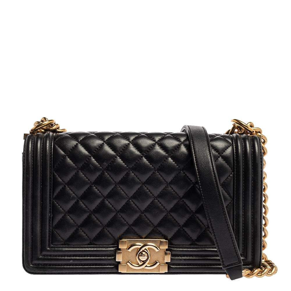 Chanel Black Quilted Leather Medium Boy Flap Bag