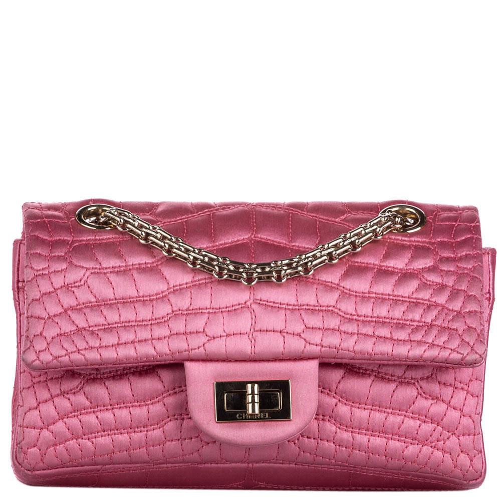 Chanel Pink Croc Stitch Satin Reissue Double Flap Bag