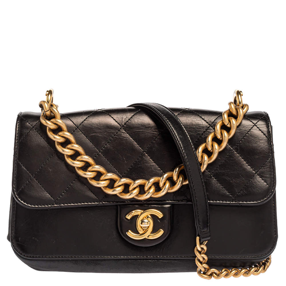 Chanel Black Quilted Leather Chain Shoulder Bag
