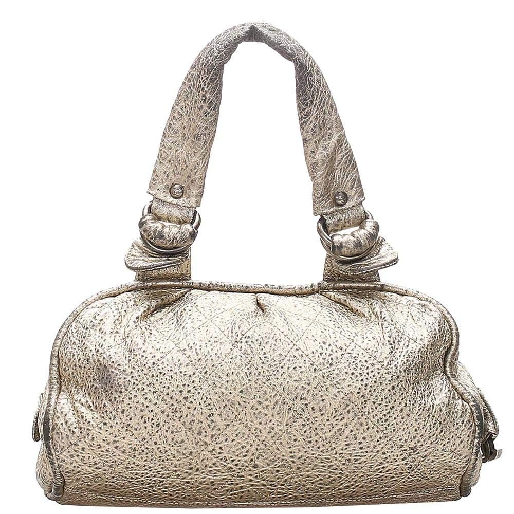 Chanel Silver Matelasse Metallic Leather Vintage Shoulder Bag