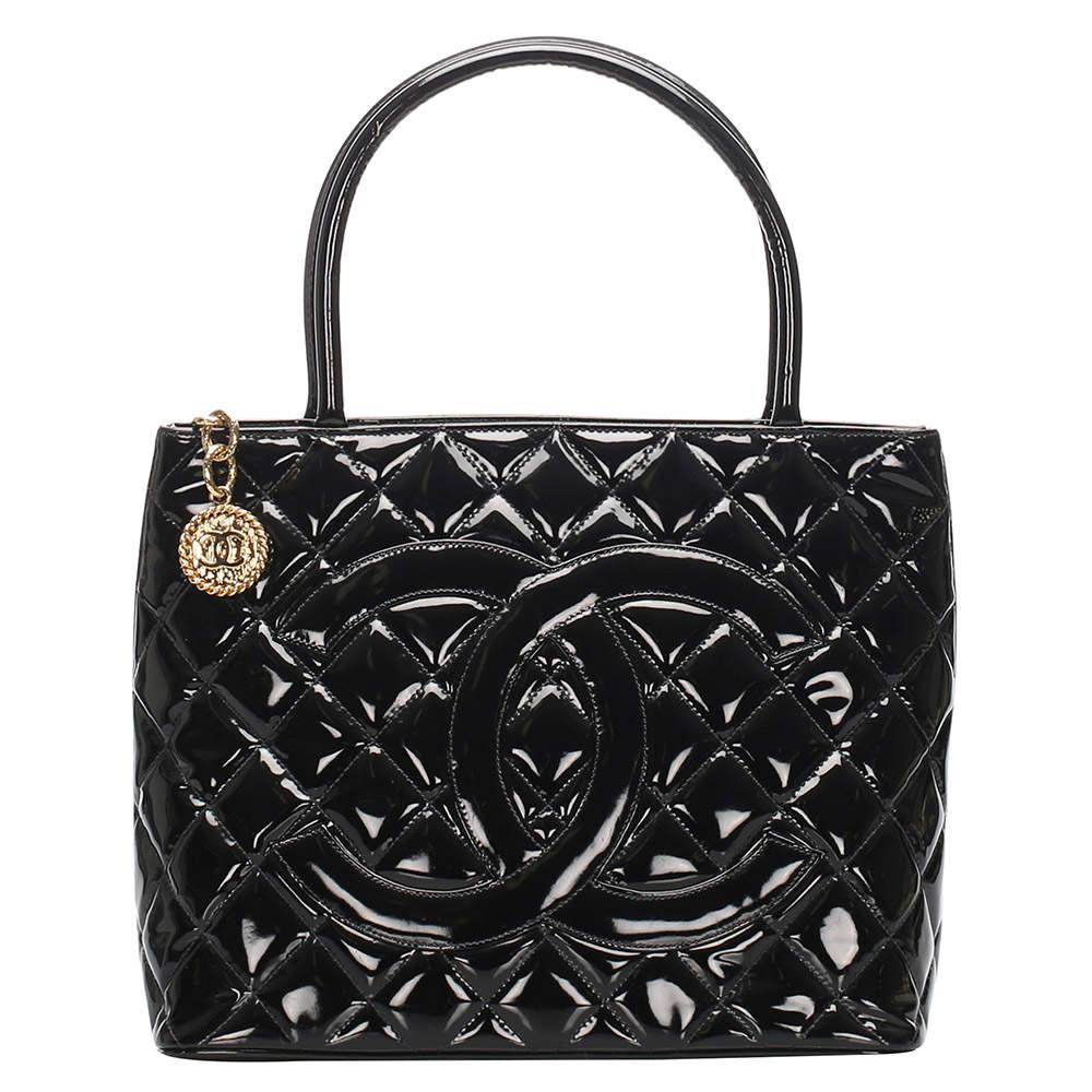 Chanel Black Patent Leather Medallion Bag