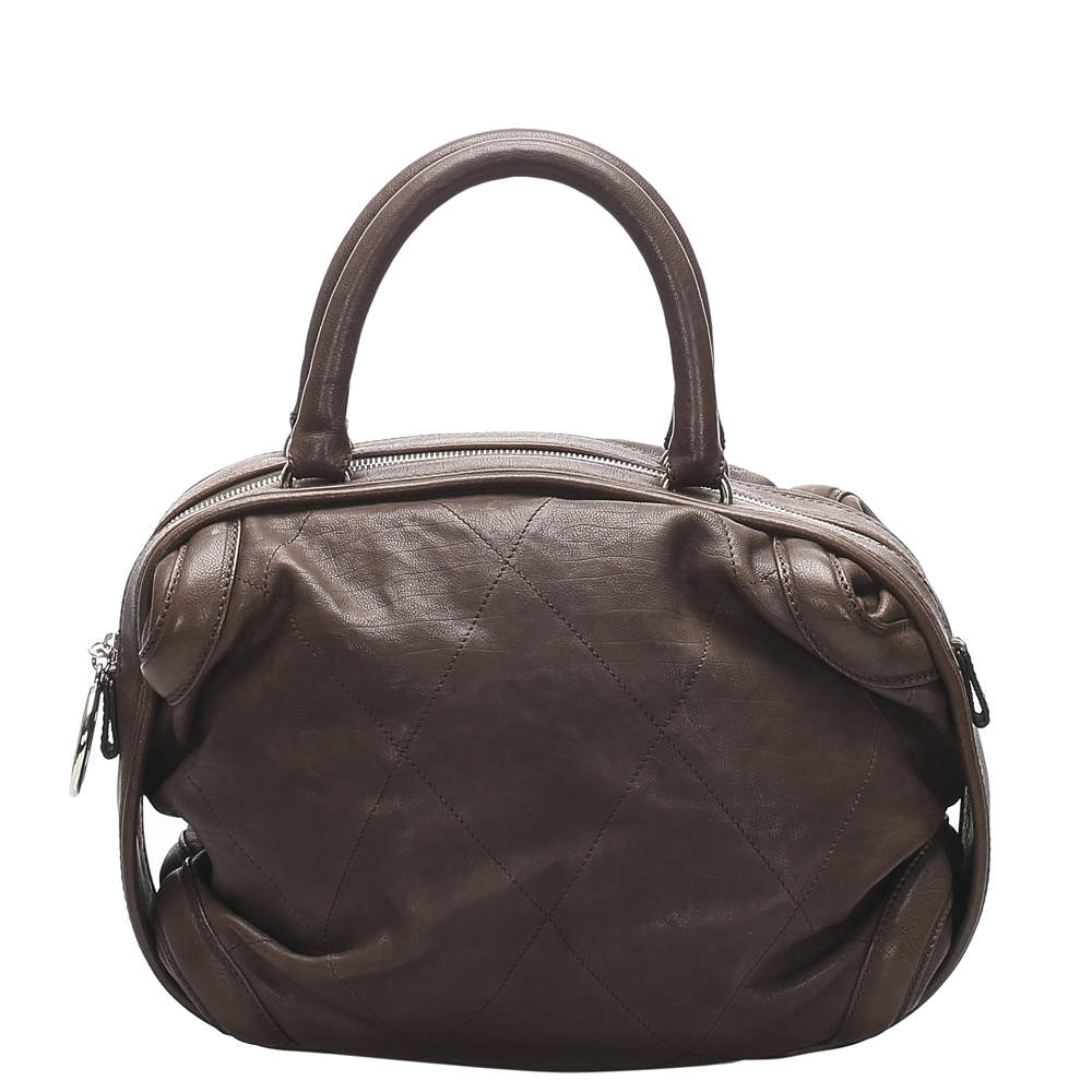 Chanel Brown Quilted Leather Bowling Bag