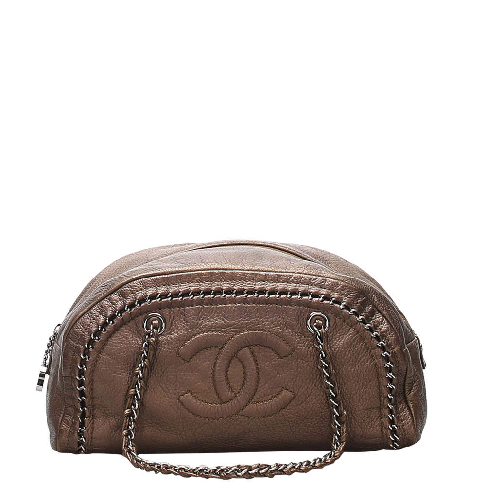 Chanel Brown Leather Luxe Ligne Bowler Bag