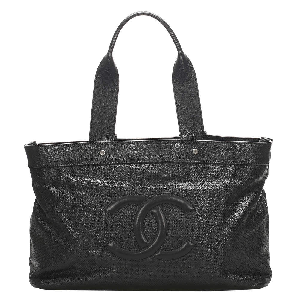 Chanel Black Perforated Leather CC Tote Bag