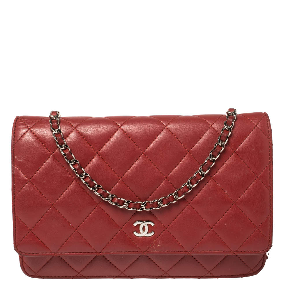Chanel Red Quilted Leather CC Classic Flap Wallet on Chain