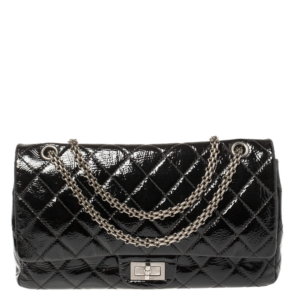 Chanel Black Quilted Patent Leather Reissue 2.55 Classic 227 Flap Bag