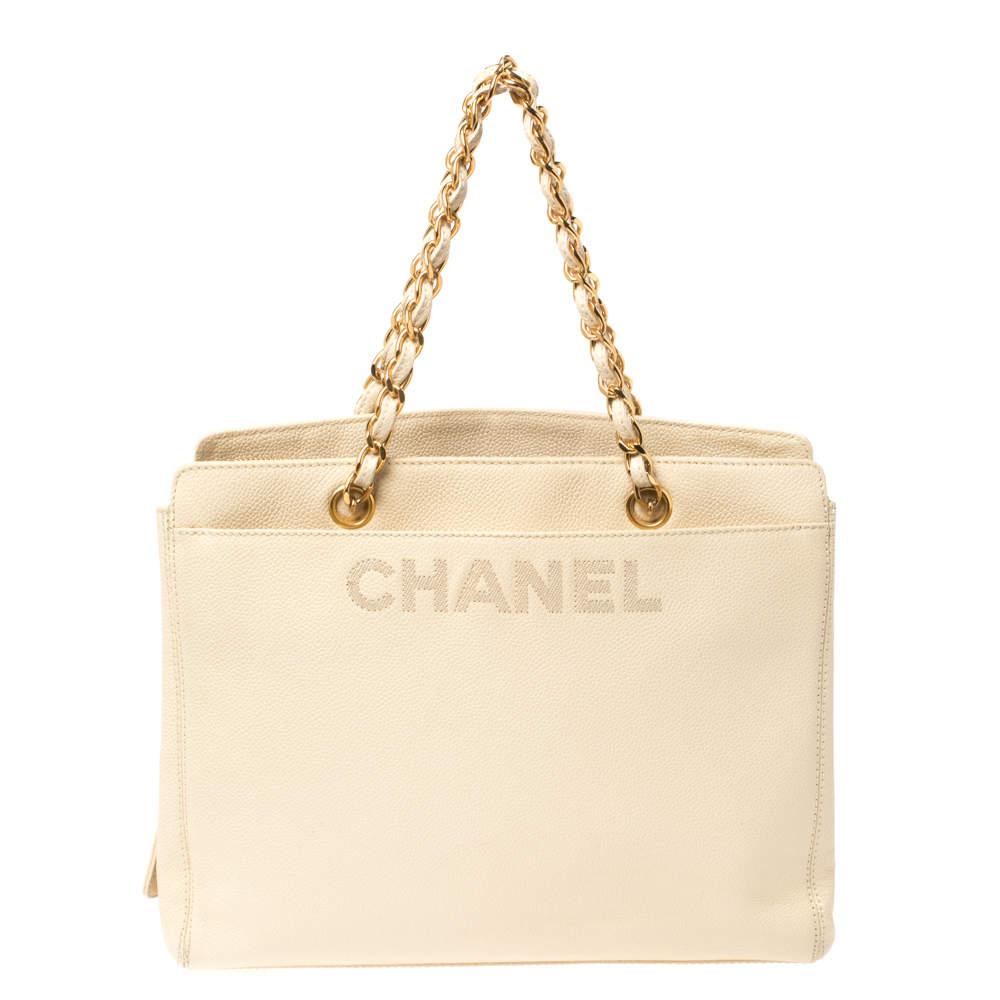 Chanel Light Cream Caviar Leather Vintage Chain Tote