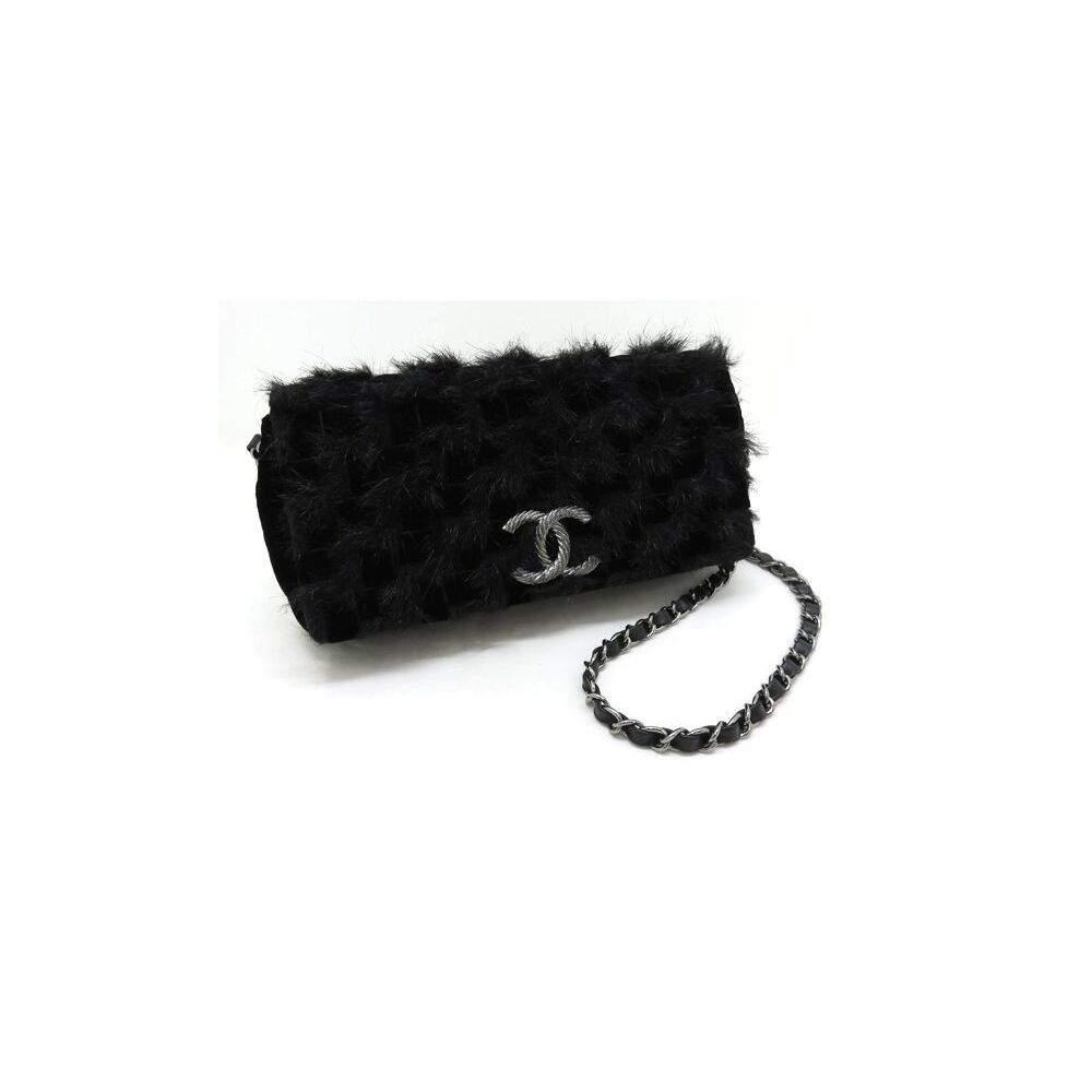 حقيبة شانيل فرو أسود/ جلد بسلسلة