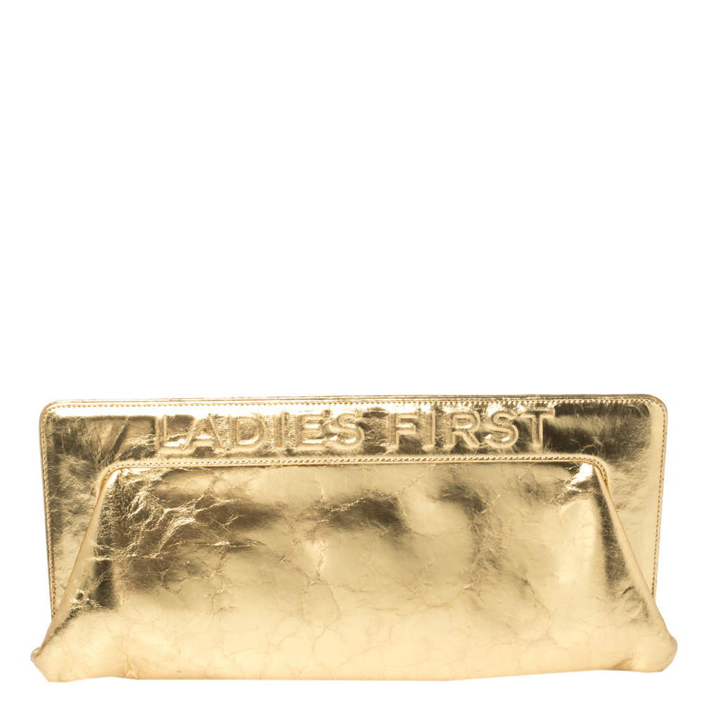حقيبة كلتش شانيل ليديز فيرست جلد نمط ممزق ذهبي ميتاليك بإطار