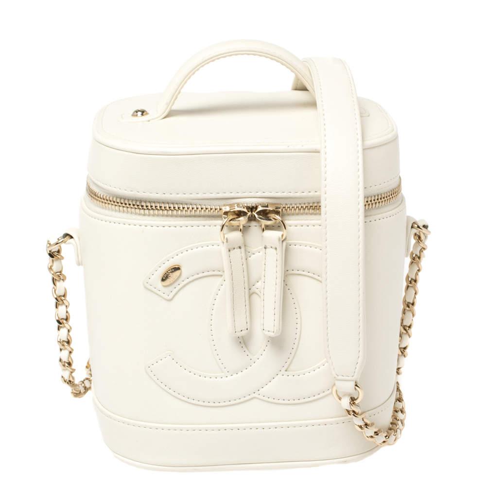 Chanel White Leather CC Mania Vanity Case