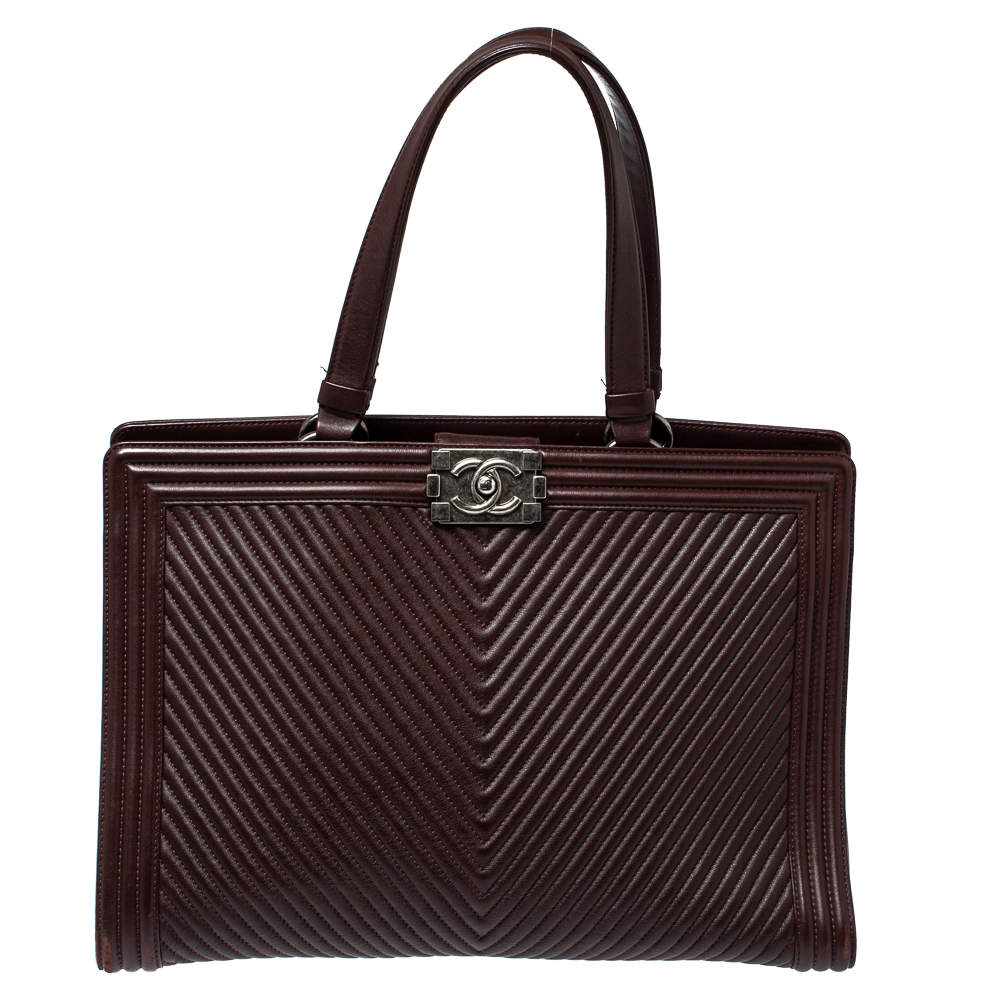 Chanel Maroon Chevron Quilted Leather Large Boy Shopping Tote