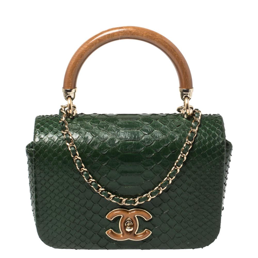Chanel Green Python CC Top Handle Bag