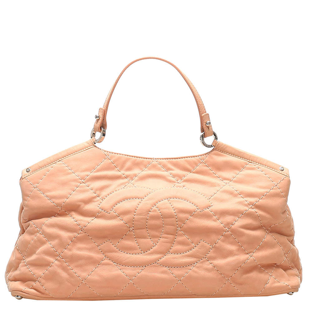 Chanel Pink Quilted Leather Sea Hit Small Tote Bag