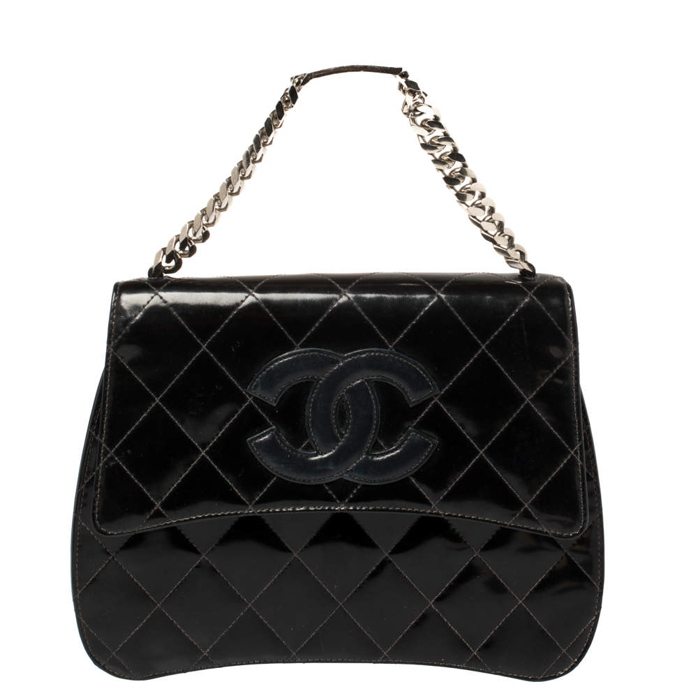 Chanel Black Patent Leather ID Bracelet Flap Bag