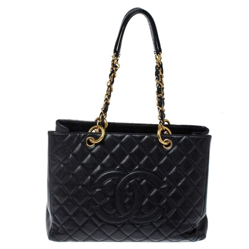 Chanel Black Quilted Caviar Leather Grand Shopper Tote