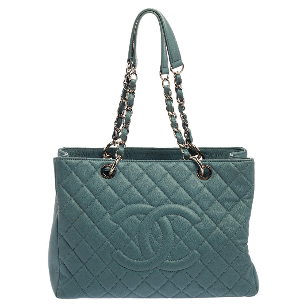 Chanel Teal Quilted Caviar Leather Grand Shopper Tote