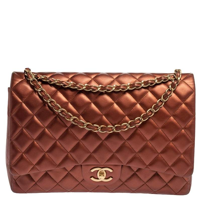 Chanel Metallic Copper Quilted Leather Maxi Classic Double Flap Bag